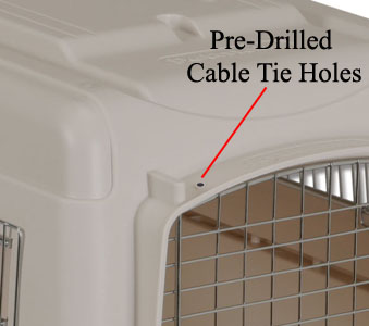 pre-drilled cable tie holes in airline kennel