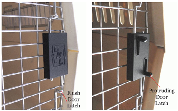 kennel with flush door latch