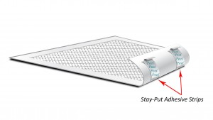 Absorbent pads Stay Put Strips